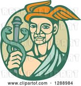Vector Clip Art of Retro Woodcut Hermes with a Caduceus in a Green Circle by Patrimonio
