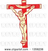 Vector Clip Art of Retro Woodcut Jesus Christ Nailed to a Red and Yellow Cross by Patrimonio