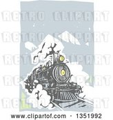 Vector Clip Art of Retro Woodcut Locomotive Train on a Rail Road Against Mountains and Sky by Xunantunich
