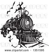 Vector Clip Art of Retro Woodcut Locomotive Train on a Rail Road by Xunantunich