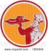 Vector Clip Art of Retro Woodcut Male Chef Holding Gelatin or Cake on a Platter in a Gray Red White and Orange Circle by Patrimonio