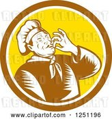 Vector Clip Art of Retro Woodcut Male Chef Kissing His Hands in a Brown and Yellow Circle by Patrimonio