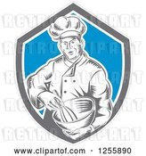 Vector Clip Art of Retro Woodcut Male Chef Mixing in a Shield by Patrimonio
