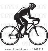 Vector Clip Art of Retro Woodcut Male Cyclist Riding a Bicycle by Patrimonio