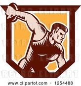 Vector Clip Art of Retro Woodcut Male Discus Thrower in an Orange and Brown Shield by Patrimonio