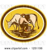 Vector Clip Art of Retro Woodcut Male Fermer Milking a Cow in a Yellow and Brown Oval by Patrimonio