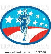 Vector Clip Art of Retro Woodcut Male Marathon Runner in an American Oval by Patrimonio