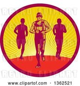 Vector Clip Art of Retro Woodcut Male Triathlete or Marathon Runners in a Sunset Oval by Patrimonio