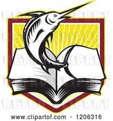 Vector Clip Art of Retro Woodcut Marlin Fish Leaping from an Open Book over a Ray Crest Shield by Patrimonio
