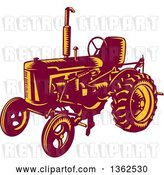 Vector Clip Art of Retro Woodcut Maroon and Yellow Farming Tractor by Patrimonio