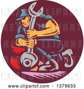 Vector Clip Art of Retro Woodcut Mechanic Unscrewing a Bolt with a Giant Wrench by Patrimonio
