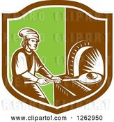 Vector Clip Art of Retro Woodcut Medieval Baker Putting Bread in a Stone Oven in a Brown White and Green Shield by Patrimonio