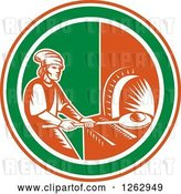 Vector Clip Art of Retro Woodcut Medieval Baker Putting Bread in a Stone Oven in a Red White and Green Circle by Patrimonio