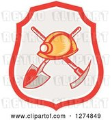 Vector Clip Art of Retro Woodcut Miner Hat over a Crossed Shovel and Pickaxe in a Shield by Patrimonio