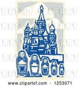 Vector Clip Art of Retro Woodcut of Nesting Dolls and Kremlin in Moscow by Xunantunich
