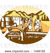 Vector Clip Art of Retro Woodcut Point of View from a Driver in a Rental Car and Tourists in a Parking Lot by Patrimonio