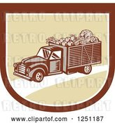 Vector Clip Art of Retro Woodcut Produce Delivery Truck in a Shield by Patrimonio