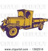Vector Clip Art of Retro Woodcut Purple and Yellow 1920s Pickup Truck with a Flatbed by Patrimonio