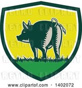 Vector Clip Art of Retro Woodcut Rear View of a Pig with a Curly Tail in a Shield by Patrimonio