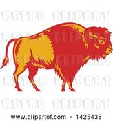 Vector Clip Art of Retro Woodcut Red and Yellow American Buffalo Bison by Patrimonio