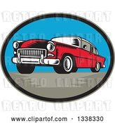 Vector Clip Art of Retro Woodcut Red Classic Car in an Oval by Patrimonio