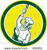 Vector Clip Art of Retro Woodcut Revolutionary Chef with a Spatula and Frying Pan in a Green White and Yellow Circle by Patrimonio