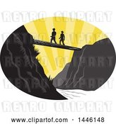 Vector Clip Art of Retro Woodcut Scene of Hikers Crossing a Footbridge over a River at Sunset by Patrimonio