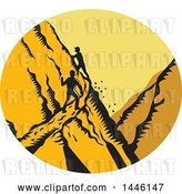 Vector Clip Art of Retro Woodcut Scene of Male Hikers Climbing a Steep Narrow Mountain Trail by Patrimonio