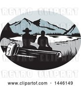 Vector Clip Art of Retro Woodcut Scene of Silhouetted Hikers Sitting on a Log and Looking out at a Mountainous Lake or Pond by Patrimonio