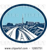 Vector Clip Art of Retro Woodcut Scene of the Sky Tower and the Skyline of Auckland, New Zealand by Patrimonio