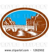 Vector Clip Art of Retro Woodcut Scene of the Trinity College Bridge in Cambridge, England Spanning the River Cam by Patrimonio