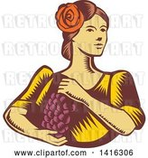 Vector Clip Art of Retro Woodcut Senorita Spanish Lady Holding Grapes by Patrimonio