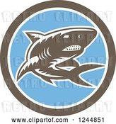 Vector Clip Art of Retro Woodcut Shark in a Circle by Patrimonio