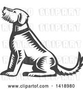 Vector Clip Art of Retro Woodcut Sitting Welsh Terrier Dog by Patrimonio