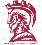 Vector Clip Art of Retro Woodcut Spartan Warrior in Profile, Wearing a Helmet by Patrimonio