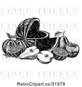 Vector Clip Art of Retro Woodcut Still Life of Fruit by AtStockIllustration