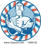 Vector Clip Art of Retro Woodcut Styled Barber Holding Clippers and Scissors in a Striped Circle by Patrimonio
