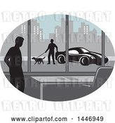Vector Clip Art of Retro Woodcut Styled Silhouetted Guy in an Office Building and Person Walking a Dog by a Car Outside in a City by Patrimonio