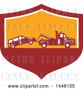 Vector Clip Art of Retro Woodcut Tow Truck Driver Hauling a Car in a Red White and Orange Shield by Patrimonio