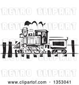 Vector Clip Art of Retro Woodcut Train on a Rail Road by Xunantunich