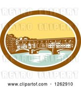 Vector Clip Art of Retro Woodcut View of the Arch Bridge of Ponte Vecchio in Florence, Firenze, Italy by Patrimonio