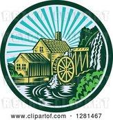 Vector Clip Art of Retro Woodcut Watermill House at Sunset in a Green and Blue Circle by Patrimonio