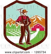 Vector Clip Art of Retro Woodcut White Male Farmer with a Rake on a Farm Inside a Shield by Patrimonio