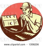 Vector Clip Art of Retro Woodcut Yellow and Brown Male Ham Radio Operator Talking into a Transreceiver in a Pink Oval by Patrimonio