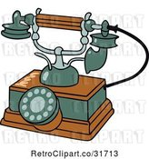 Vector Clip Art of Retro Wooden and Green Phone by Frisko