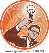 Vector Clip Art of Retro Woodut Black Business Man Holding a Light Bulb in an Orange Circle by Patrimonio