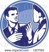 Vector Clip Art of Retro Woodut Business Man and Lady Talking in a Blue Circle by Patrimonio