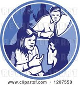 Vector Clip Art of Retro Woodut Business People Talking in a Blue Circle by Patrimonio