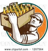 Vector Clip Art of Retro Worker Carrying a Case of Beer Bottles by Patrimonio