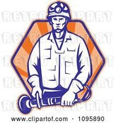 Vector Clip Art of Retro Worker Holding Angle Grinder Tool over Rays by Patrimonio